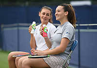 Ingrid Neel (left) and Louise Campos on Day Six of the Fuzion 100 Surbiton Trophy at the Surbiton Racket & Fitness Club, Surrey, United Kingdom.<br /> Picture by Daniel Hambury/Focus Images Ltd 07813022858<br /> 07/06/2018