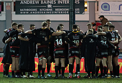 Dragons players post match huddle<br /> <br /> Photographer Simon King/Replay Images<br /> <br /> Guinness PRO14 Round 14 - Dragons v Glasgow Warriors - Friday 9th February 2018 - Rodney Parade - Newport<br /> <br /> World Copyright © Replay Images . All rights reserved. info@replayimages.co.uk - http://replayimages.co.uk
