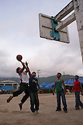 Indigenous youth practice basketball in Cochoapa el Grande, Guerrero on October 5th, 2009. Cochoapa el Grande is considerated by the United Nations as the poorest municipality in all Mexico and Latin America whose levels of life are comparable with Sub-saharian Africa. (Photo: Prometeo Lucero)