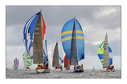 Yachting- The first days inshore racing  of the Bell Lawrie Scottish series 2003 at Tarbert Loch Fyne.  Light shifty winds dominated the racing...Thornoxon, Reindeer and Hops of Class three head downwind...Pics Marc Turner / PFM