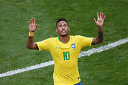 Neymar of Brazil celebrates after the 1-0 goal during the 2018 FIFA World Cup Russia, round of 16 football match between Brazil and Mexico on July 2, 2018 at Samara Arena in Samara, Russia - Photo Tarso Sarraf / FramePhoto / ProSportsImages / DPPI