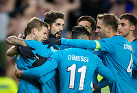 TRONDHEIM, NORWAY - NOVEMBER 02, 2017. UEFA Europa League, round 4: Rosenborg BK (Norway) 1-1 Zenit St Petersburg (Russia). Zenit St Petersburg players celebrate scoring against Rosenborg.