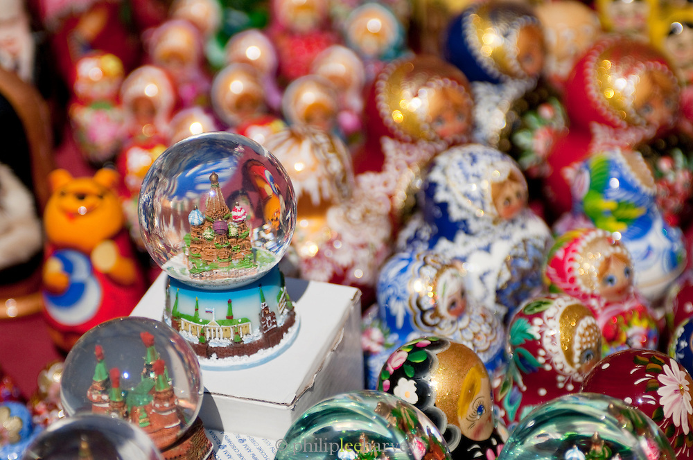Souvenirs for sale at the entrance to Red Square, Moscow, Russia
