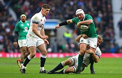 Ireland's Rory Best (right) in action during the NatWest 6 Nations match at Twickenham Stadium, London.