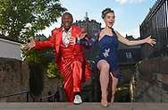 1st TME FREE  USE PICS - STRICTLY NO SALES, SYNDICATION OR ARCHIVE<br /> <br /> Tap-Tastic Melvin Gets Movin' with Top Teenage Edinburgh Dancer<br /> Rhythm & Blues legend Movin' Melvin Brown, aged 72, and 17-year-old Edinburgh tap dancer Tamzin Burgess got together to compare moves in the heart of the capital.<br /> Movin' Melvin is not only performing a high-octane Fringe show, Chuck Berry Lives! but will be teaching Edinburgh folk the basics of tap at special classes this Saturday.<br /> Melvin, from the USA, loves to dance with talented local people everywhere he goes on his worldwide tours – and was mightily impressed with Tamzin who this month won the Leigh Anderson Memorial Trophy and the Edinburgh Tap trophy and was second in the Tap World Cup in Germany in May. <br /> The Dancing With The Star – Movin' With Melvin masterclass, which offers a fun route to health and fitness, will take place at Assembly Checkpoint on Saturday, 19 August at 11am.<br /> And for those who love it and want to carry on with classes there's the Mary Phelan school, where Tamzin trained, which has been in Edinburgh for 40 years. And tap classes are also available at Dance Base, Scotland's National Centre for Dance in Edinburgh's Grassmarket.<br /> <br />  Neil Hanna Photography<br /> www.neilhannaphotography.co.uk<br /> 07702 246823