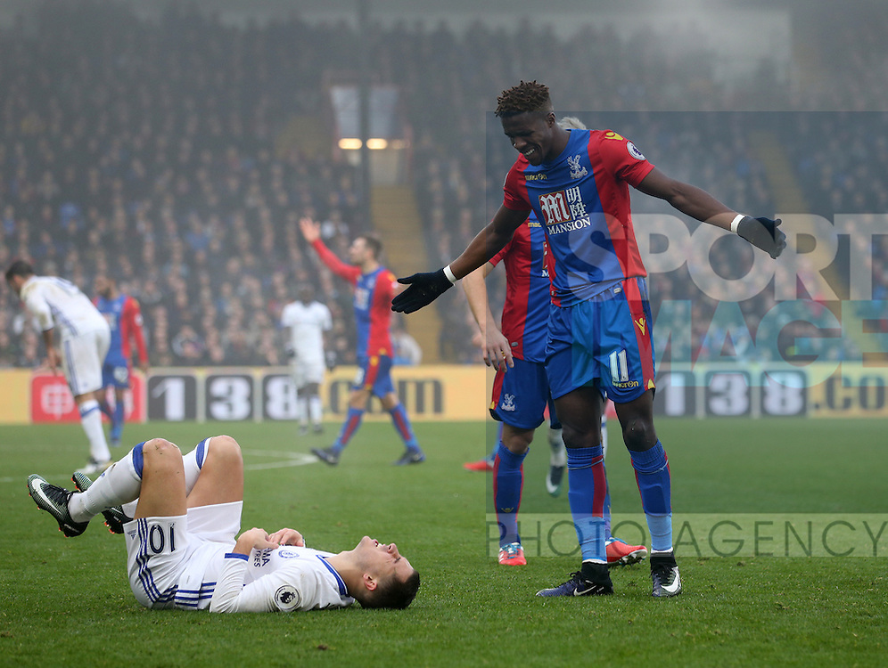 Crystal Palace's Wilfred Zaha accusses Chelsea's Eden Hazard of diving during the Premier League match at Selhurst Park Stadium, London. Picture date December 17th, 2016 Pic David Klein/Sportimage