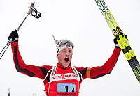Skiskyting<br /> Hochfilzen Østerrike<br /> 11.12.2011<br /> Foto: imago/Digitalsport<br /> NORWAY ONLY<br /> <br /> Weltcup der Herren. <br /> <br /> Tarjei BØ (NOR) jubelt 4x7,5km Staffel der Männer Winterspor