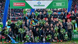 05-05-2019 NED: Cup Final Ceremony Willem II - Ajax, Rotterdam<br /> Ajax has won its first prize since 2014 on Sunday evening. In the cup final, Ajax won 4-0 against Willem II / Ajax celebrate with the cup, Lasse Schone #20 of Ajax, Frenkie de Jong #21 of Ajax, Matthijs de Ligt #4 of Ajax, Donny van de Beek #6 of Ajax, Dusan Tadic #10 of Ajax, Daley Blind #17 of Ajax, Andre Onana #24 of Ajax