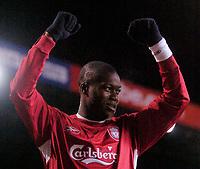 Photo: Glyn Thomas.<br /> Birmingham City v Liverpool. The FA Cup. 21/03/2006.<br /> Liverpool's Djibril Cisse celebrates scoring his side's seventh goal.