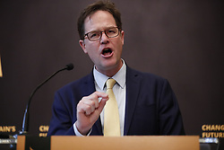 © Licensed to London News Pictures. 02/05/2017. London, UK. Former Liberal Democrat leader NICK CLEGG makes his first intervention of the election campaign and sets out the party's position on Europe and Brexit ahead of the 2017 General Election at The National Liberal Club in London on 2 May 2017. Photo credit: Tolga Akmen/LNP