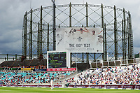 Cricket - 2017 South Africa Tour of England - Third Test, Day Five<br /> <br /> The Gas Tower with the banner displaying the 100th test match  during the afternoon session, at The Oval.<br /> <br /> COLORSPORT/ANDREW COWIE