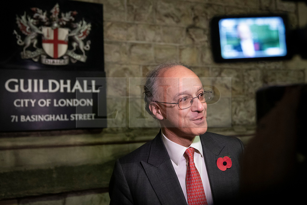 © Licensed to London News Pictures. 31/10/2018. London, UK. Lord James Sassoon, Executive Director of Jardine Matheson Holdings Ltd., speaks to the media after a briefing for business leaders by Prime Minister Theresa May and The Chancellor of The Exchequer Philip Hammond about the budget and Brexit. Photo credit: Rob Pinney/LNP