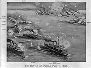 Spanish-American War 1898: Battle of Manila Bay, Philippines, 1 May 1898, the first major  engagement of the conflict. Commodore George Dewey's cruiser leading action. Overwhelming US victory. Print c1900 Naval Warfare .