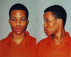 FILE PHOTO - A federal judge has tossed out two life sentences for D.C. sniper Lee Boyd Malvo and ordered new sentencing hearings due to a 2012 Supreme Court ruling that made it unconstitutional for juveniles to receive mandatory life sentences in prison without parole. PICTURED: May 26, 2017 - File Photo - A federal judge in Virginia overturned the two life sentences of Washington-area sniper LEE BOYD MALVO on Friday, more than a decade after he was originally sentenced as a teenager. US District Court Judge Raymond Jackson, in a rare move, sent Malvo's case back to state courts in Chesapeake and Spotslvania County in Virginia for resentencing. Pictured: Nov 10, 2003; Chesapeake, Virginia - Chesapeake Sheriff's office booking photo of Sniper suspect Lee Boyd Malvo who was sentence to life in prison without parole, as his Virginia jury rejected the idea of the death penalty. (Credit Image: ZUMA Press/ZUMAPRESS.com)