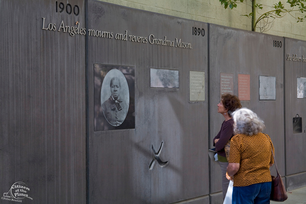 Biddy Mason Wall and Park<br /> Broadway Spring Center, commemorating Biddy Mason, a slave who won her freedom and founded the city's First African Methodist Episcopal Church on land she purchased, Los Angeles, California, USA