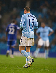 MANCHESTER, ENGLAND - Monday, February 25, 2008: Manchester City's Martin Petrov walks off dejected after being shown the red card in the third minute of injury time during the Premiership match against Everton at the City of Manchester Stadium. (Photo by David Rawcliffe/Propaganda)