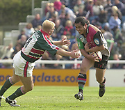 Twickenham, Surrey, England,  UK., 14/05/2003, Adam Balding moves in to tackle, Harlequins Hooker,  Tani Fuji, during, the Zurich Premiership Rugby match, NEC Harlequins vs Leicester Tigers, played at the Stoop Memorial Ground, [Mandatory Credit: Peter Spurrier/Intersport Images]