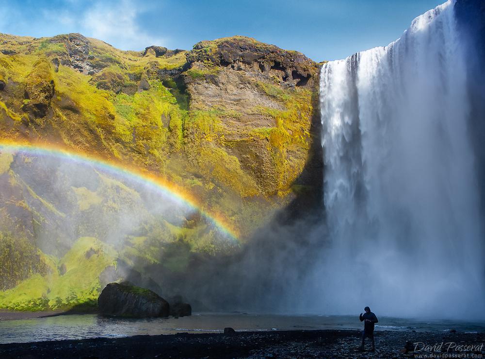 Skógafoss waterfall with rainbow