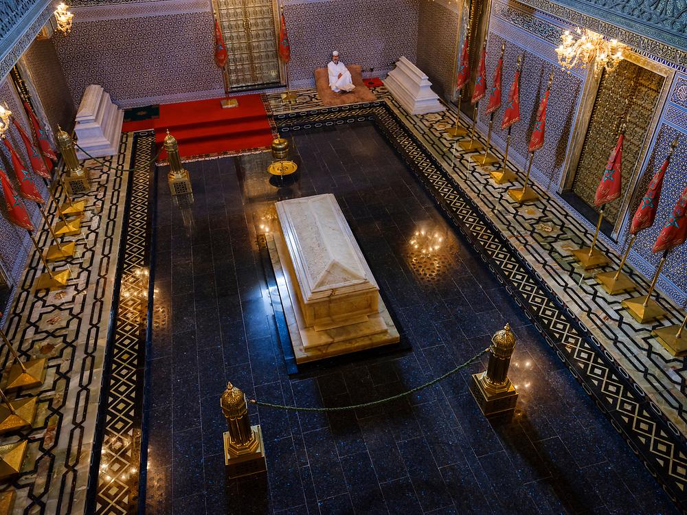 RABAT, MOROCCO - CIRCA APRIL 2017: Interior of the Mausoleum of Mohammed V in Rabat.