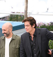 Gaspar Noe and Benicio Del Toro at the 7 Dias En La Habana photocall at the 65th Cannes Film Festival France. Wednesday 23rd May 2012 in Cannes Film Festival, France.