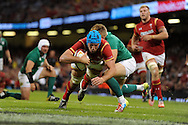Justin Tipuric of Wales scores his teams 2nd try. Wales v Ireland rugby union international, RWC warm up friendly match at the Millennium Stadium in Cardiff, South Wales on Saturday 8th August  2015.<br /> pic by Andrew Orchard, Andrew Orchard sports photography.