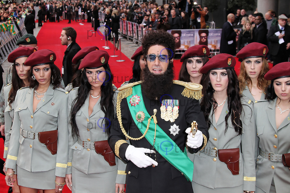 LONDON - MAY 10: Sacha Baron Cohen; Admiral General Aladeen attend the World Film Premiere of 'The Dictator' at the Royal Festival Hall, Southbank Centre, London, UK. May 10, 2012. (Photo by Richard Goldschmidt)