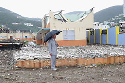 The Prince of Wales visits the remains of Elmore Stoutt's High School in Road Town during a visit to the island of Tortola, in the British Virgin Islands as he continues his tour of hurricane-ravaged Caribbean islands.