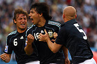 Fotball<br /> Foto: Piko Press/Digitalsport<br /> NORWAY ONLY<br /> <br /> Argentina win over Uruguay (2-1) n their World Cup 2010 qualifying soccer match in Buenos Aires, October11, 2008<br /> Here Argentine player SERGIO AGUERO celebrating with team mate ESTEBAN CAMBIASSO  after he scored his team's second goal against Uruguay