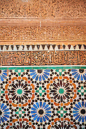 The arabesque zelige tiles and architecture of the Saadian Tombs the 16th century mausoleum of the Saadian rulers, Marrakech, Morroco .<br /> <br /> Visit our MOROCCO HISTORIC PLAXES PHOTO COLLECTIONS for more   photos  to download or buy as prints https://funkystock.photoshelter.com/gallery-collection/Morocco-Pictures-Photos-and-Images/C0000ds6t1_cvhPo<br /> .<br /> <br /> Visit our ISLAMIC HISTORICAL PLACES PHOTO COLLECTIONS for more photos to download or buy as wall art prints https://funkystock.photoshelter.com/gallery-collection/Islam-Islamic-Historic-Places-Architecture-Pictures-Images-of/C0000n7SGOHt9XWI