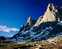 Warbonnet (left) and Warrior Peaks, Cirque of the Towers Popo Agie Wilderness Wind River Range Wyoming USA
