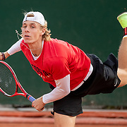 PARIS, FRANCE September 26.  Denis Shapovalov of Canada practicing on the outside courts in preparation for the 2020 French Open Tennis Tournament at Roland Garros on September 26th 2020 in Paris, France. (Photo by Tim Clayton/Corbis via Getty Images)