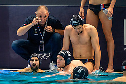 Team Head Coach Nenad Vukanic of France in action against Netherlands during the Olympic qualifying tournament. The Dutch water polo players are on the hunt for a starting ticket for the Olympic Games on February 17, 2021 in Rotterdam