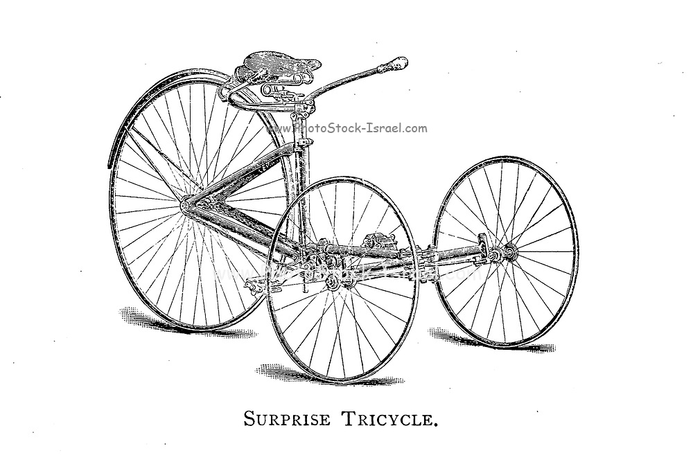 Surprise Tricycle From Wheels and Wheeling; An indispensable handbook for cyclists, with over two hundred illustrations by Porter, Luther Henry. Published in Boston in  1892