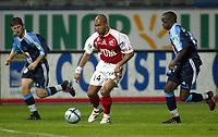 Fotball<br /> Frankrike 2004/05<br /> 2. divisjon<br /> Le Havre v Reims<br /> 28. august 2004<br /> Foto: Digitalsport<br /> NORWAY ONLY<br /> THOMAS DOSSEVI (REI) / LASSANA DIARRA / THOMAS LECOSSAIS (HAV)