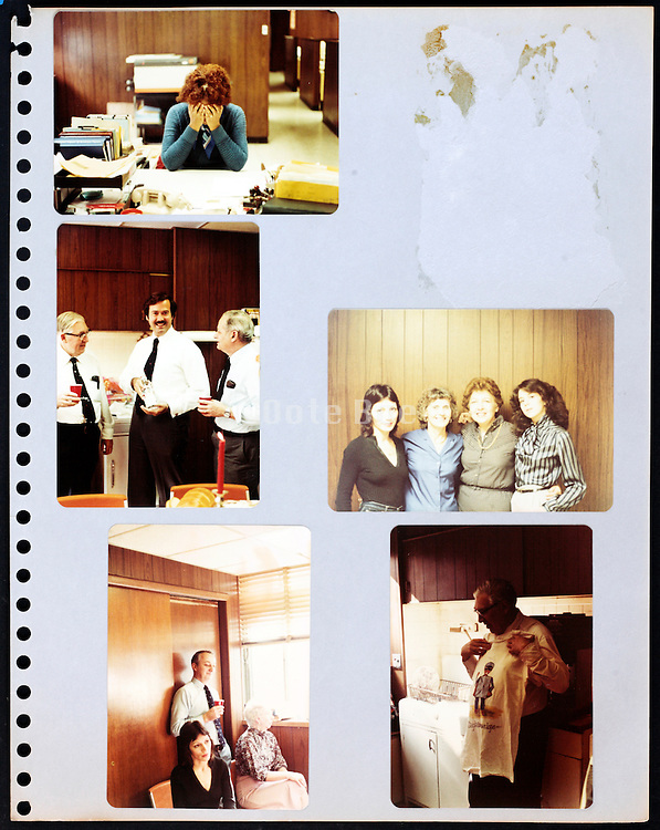 page from a photo album with company office workers having a good time USA 1981