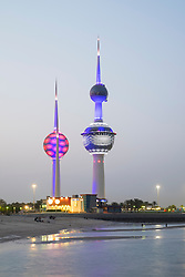 Kuwait Towers at night in Kuwait City, Kuwait.