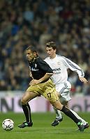 7/2/2004 Madrid, Spain.<br />La Liga (Spanish League) stage 23<br />R.Madrid 2 - Malaga 1<br />R.Madrid's Pavon in duel with Malaga's Ballesta at Santiago Bernabeu's Stadium.<br />© 2004 Alejandro leon Fernandez