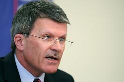 Stane Valant, president of Ski Federation of Slovenia at press conference, on April 9, 2008, Ljubljana, Slovenia. (Photo by Vid Ponikvar / Sportal Images)