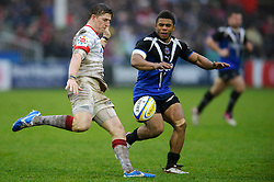Saracens Winger (#11) David Strettle clears past Bath Outside Centre (#13) Kyle Eastmond during the second half of the match - Photo mandatory by-line: Rogan Thomson/JMP - Tel: Mobile: 07966 386802 22/12/2012 - SPORT - RUGBY - The Recreation Ground - Bath. Bath Rugby v Saracens - Aviva Premiership.
