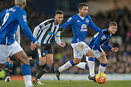 Aaron Lennon (Everton) takes a shot on goal during the Barclays Premier League match between Everton and Newcastle United at Goodison Park, Liverpool, England on 3 February 2016. Photo by Mark P Doherty.
