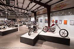 Yuichi Yoshizawa and Yoshikazu Ueda's Custom Works Zon custom BMW R1800 and Oliver Jones 1937/40 UL/EL custom Harley-Davidsonin the What's the Skinny Exhibition (2019 iteration of the Motorcycles as Art annual series) at the Sturgis Buffalo Chip during the Sturgis Black Hills Motorcycle Rally. SD, USA. Wednesday, August 7, 2019. Photography ©2019 Michael Lichter.