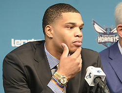 June 22, 2018 - Charlotte, NC, USA - Charlotte Hornets first-round draft pick Miles Bridges listens to a question during an introductory news conference at Spectrum Center in Charlotte, N.C., on Friday, June 22, 2018. (Credit Image: © David T. Foster Iii/TNS via ZUMA Wire)