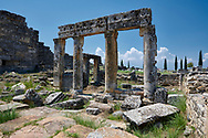 Picture of The north Byzantine gate forms part of a fortification system built at Hierapolis in late 4th century Theodosian times. Hierapolis archaeological site near Pamukkale in Turkey. .<br /> <br /> If you prefer to buy from our ALAMY PHOTO LIBRARY  Collection visit : https://www.alamy.com/portfolio/paul-williams-funkystock/pamukkale-hierapolis-turkey.html<br /> <br /> Visit our TURKEY PHOTO COLLECTIONS for more photos to download or buy as wall art prints https://funkystock.photoshelter.com/gallery-collection/3f-Pictures-of-Turkey-Turkey-Photos-Images-Fotos/C0000U.hJWkZxAbg .<br /> <br /> If you prefer to buy from our ALAMY PHOTO LIBRARY  Collection visit : https://www.alamy.com/portfolio/paul-williams-funkystock/pamukkale-hierapolis-turkey.html<br /> <br /> Visit our TURKEY PHOTO COLLECTIONS for more photos to download or buy as wall art prints https://funkystock.photoshelter.com/gallery-collection/3f-Pictures-of-Turkey-Turkey-Photos-Images-Fotos/C0000U.hJWkZxAbg