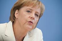 18 SEP 2009, BERLIN/GERMANY:<br /> Angela Merkel, CDU, Bundeskanzlerin, Pressekonferenz zu aktuellen Fragen, Bundespressekonferenz<br /> IMAGE: 20090918-01-013