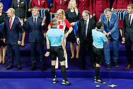 4th official Bjorn Kuipers in front of Croatia president Kolinda Grabar Kitarovic after the 2018 FIFA World Cup Russia, final football match between France and Croatia on July 15, 2018 at Luzhniki Stadium in Moscow, Russia - Photo Stanley Gontha / Proshots / ProSportsImages / DPPI