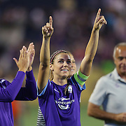 ORLANDO, FL - APRIL 23: Alex Morgan #13 of Orlando Pride celebrates after winning a NWSL soccer match against the Houston Dash at the Orlando Citrus Bowl on April 23, 2016 in Orlando, Florida. The Orlando Pride won the game 3-1.  (Photo by Alex Menendez/Getty Images) *** Local Caption *** Alex Morgan