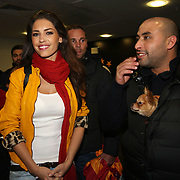 Galatasaray new player Wesley Sneijder wife Yolanthe Cabau seen during their new signing ceremony at the TT arena in Istanbul Turkey on Tuesday 22 January 2013. Photo by TURKPIX