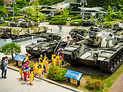 08 JUNE 2018 - SEOUL, SOUTH KOREA: Children in a school group at the War Memorial of Korea in Seoul, South Korea, look at a static display of tanks. With the near constant threat of invasion from North Korea, many South Koreans take great pride in the ability of their armed forces. Some observers believe there is a possibility that a peace agreement between South and North Korea could be signed following the Trump/Kim summit in Singapore. The War Memorial and museum opened in 1994 on the former site of the army headquarters to exhibit and memorialize the military history of Korea. When it opened in 1994 it was the largest building of its kind in the world. The museum features displays about the Korean War and many static displays of military equipment.    PHOTO BY JACK KURTZ