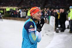 28.12.2013, Veltins Arena, Gelsenkirchen, GER, IBU Biathlon, Biathlon World Team Challenge 2013, im Bild Olena Pydrushna (Ukraine) zittert, betet auf der letzten Runde // during the IBU Biathlon World Team Challenge 2013 at the Veltins Arena in Gelsenkirchen, Germany on 2013/12/28. EXPA Pictures © 2013, PhotoCredit: EXPA/ Eibner-Pressefoto/ Schueler<br /> <br /> *****ATTENTION - OUT of GER*****