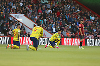 Football - 2021 / 2022 EFL Sky Bet Championship -AFC Bournemouth vs. West Bromwich Albion - The Vitality Stadium<br /> <br /> West Brom players take the knee as the Bournemouth players stay standing at the Vitality Stadium (Dean Court) Bournemouth <br /> <br /> COLORSPORT/Shaun Boggust